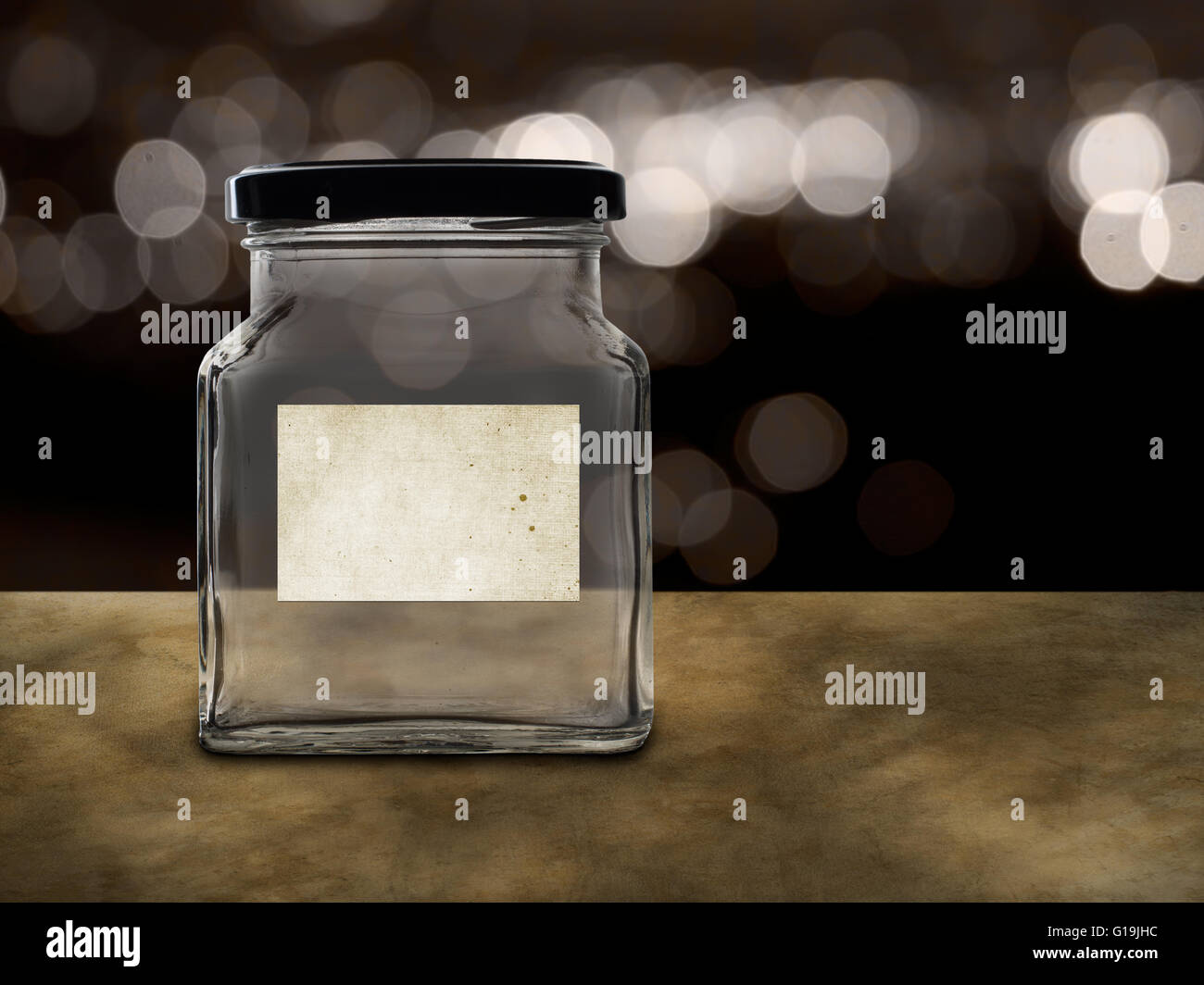 Empty jar for tips, savings, or pension etc. Many possible labels. - Stock Image