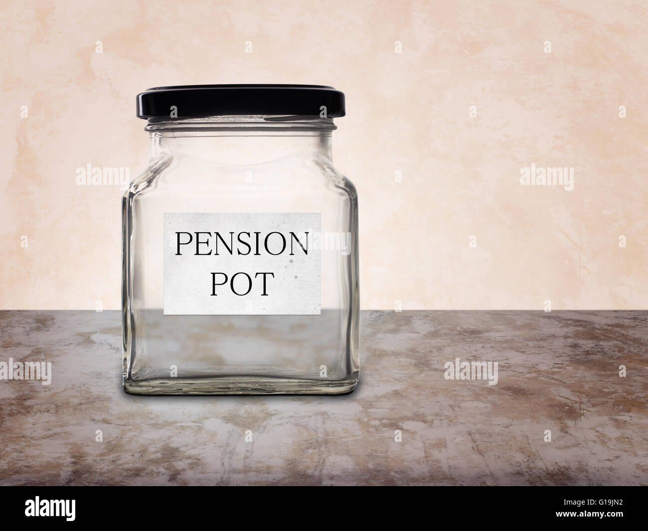 No pension pot. Empty jar. - Stock Image