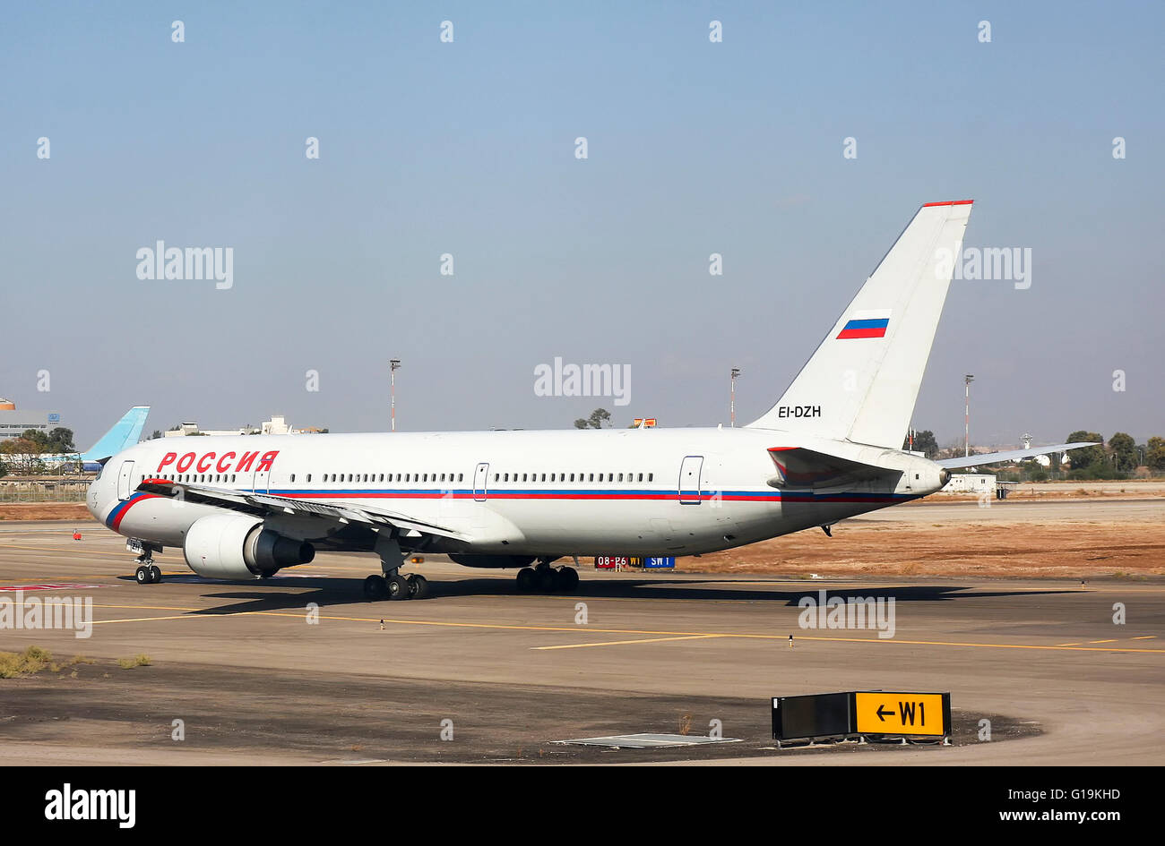 Israel, Ben-Gurion international Airport Rossiya passenger jet Boeing 767 3Q8(ER) ready for takeoff - Stock Image