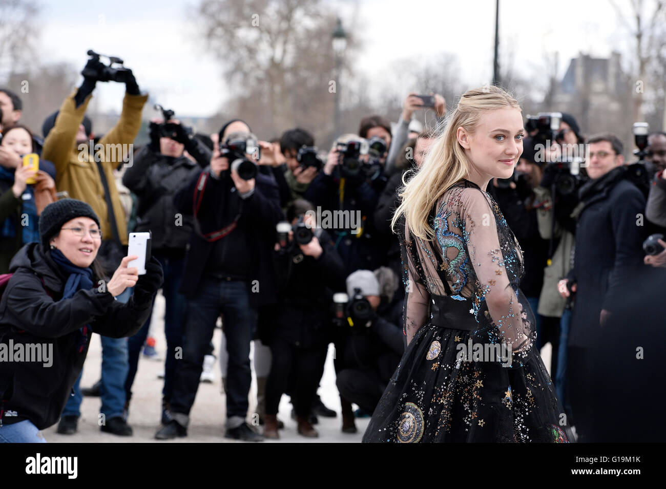 Actress Dakota Fanning at Valentino Show during Paris Fashion Week RTW fall-winter 2016-2017 Stock Photo
