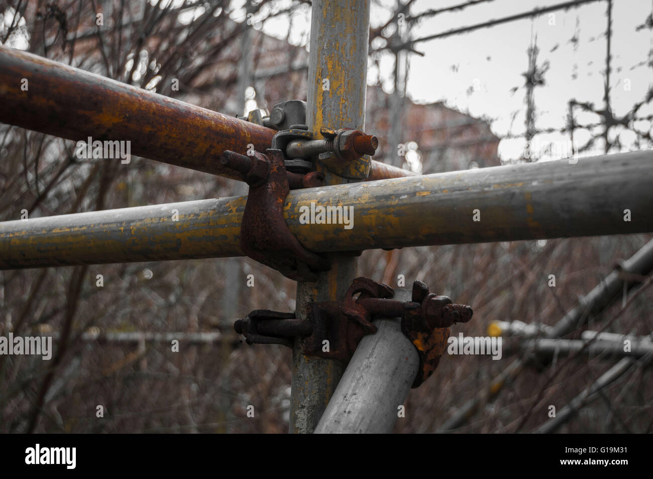 Close up of scaffolding in Abandoned building - Stock Image