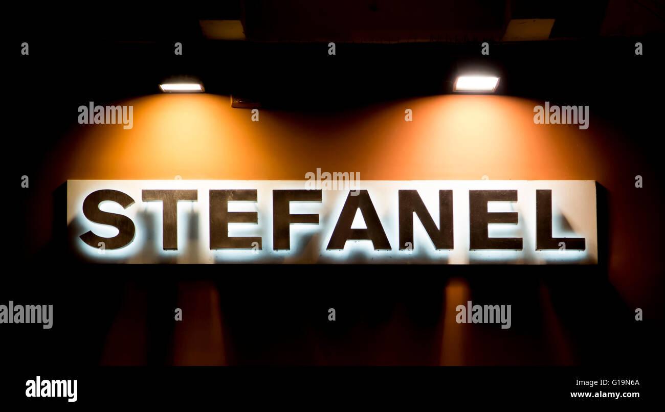 Logo of the italian fashion brand 'Stefanel'. - Stock Image