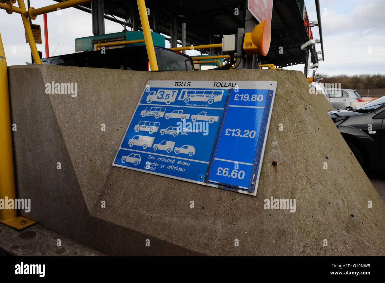 Motorway toll charges sign on display - Stock Image