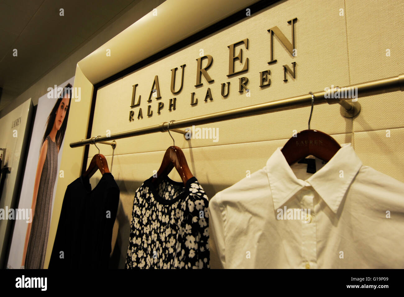 clothing, clothes,apparel,UK,Ralph Lauren - Stock Image