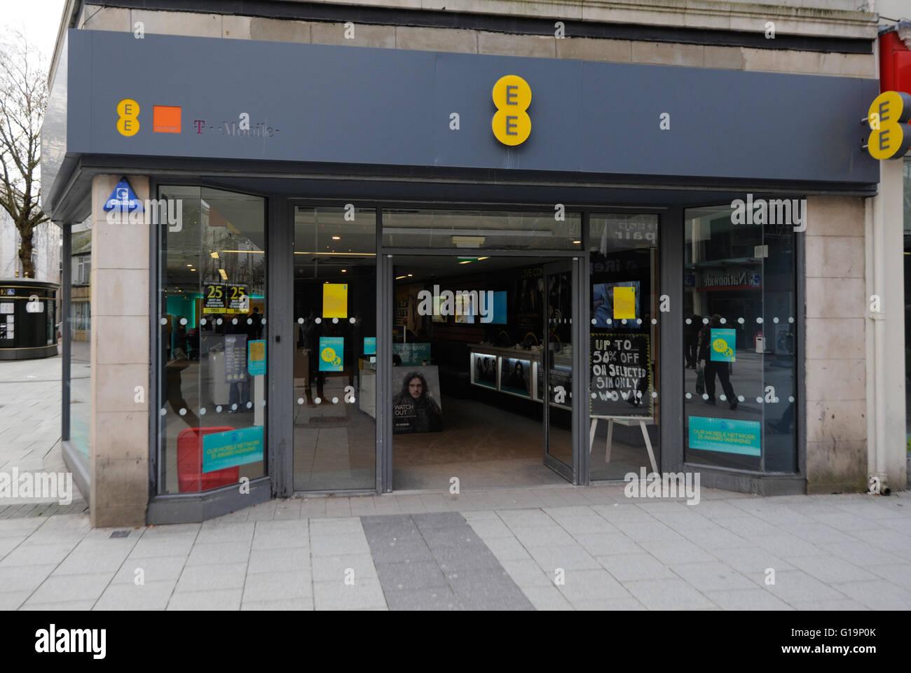 telecommunications,EE T-Mobiles,shop,UK - Stock Image