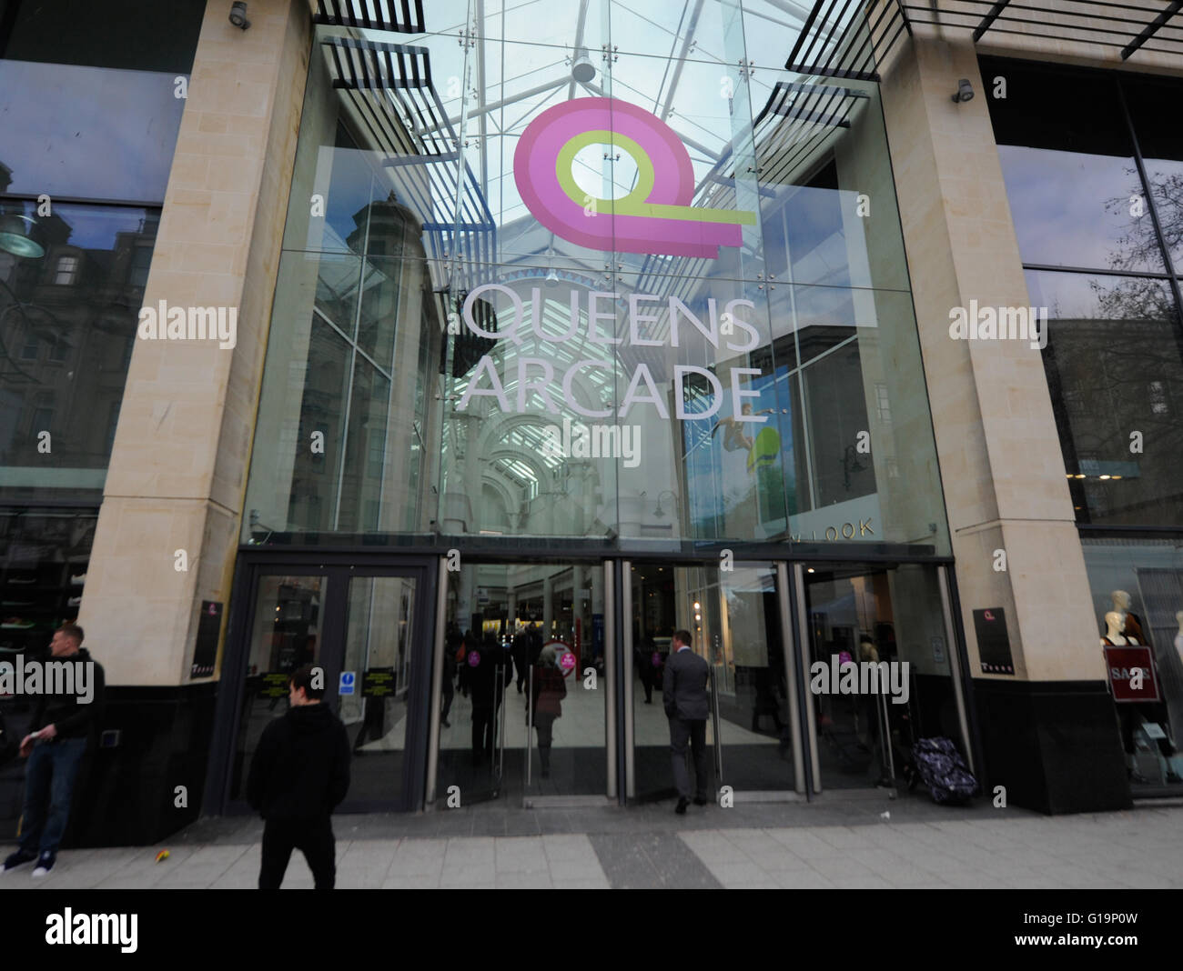 Queens Arcade,shopping centre,UK - Stock Image