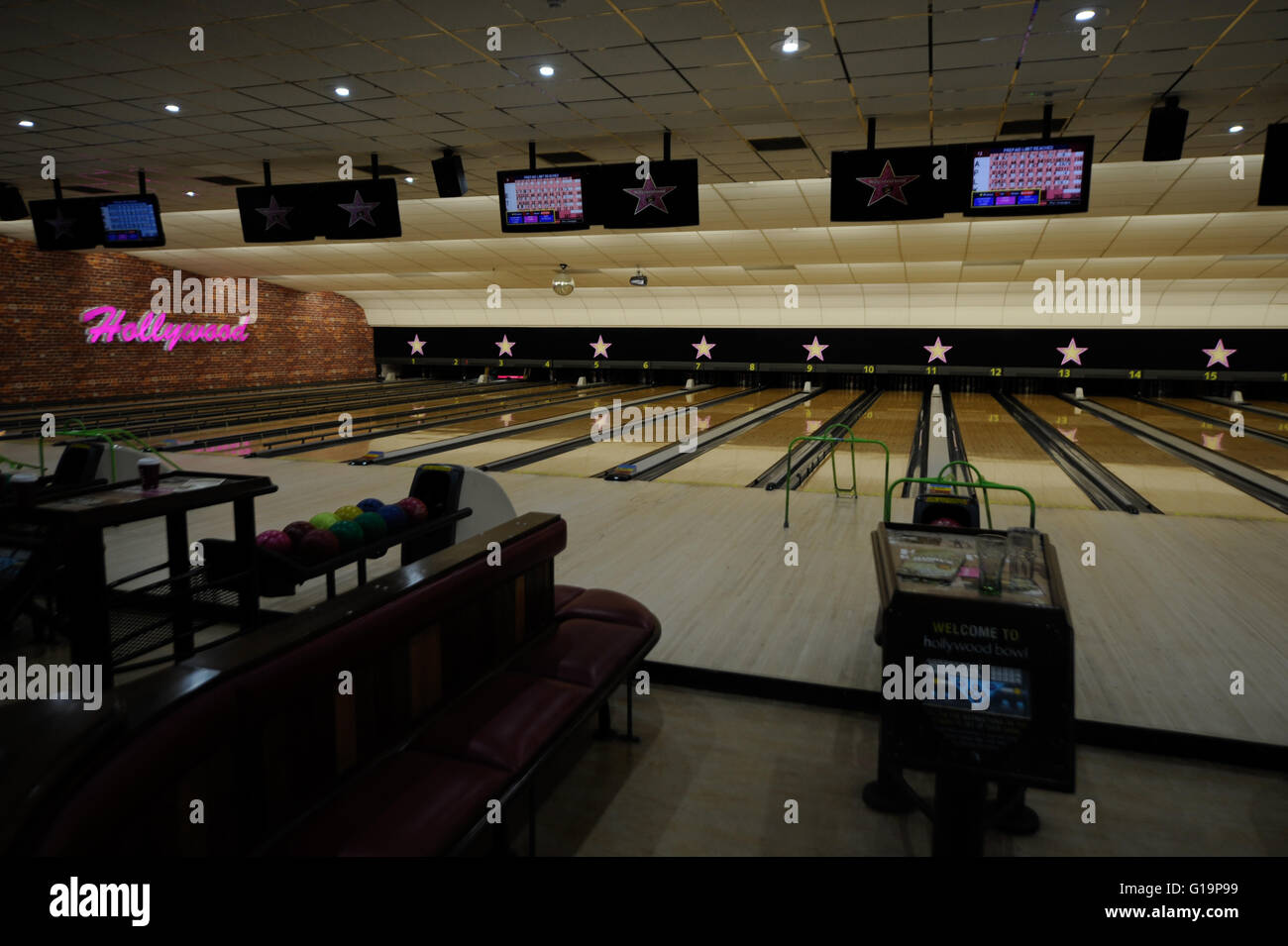 Bowling,The Red Dragon Centre,Hollywood Bowl,UK - Stock Image
