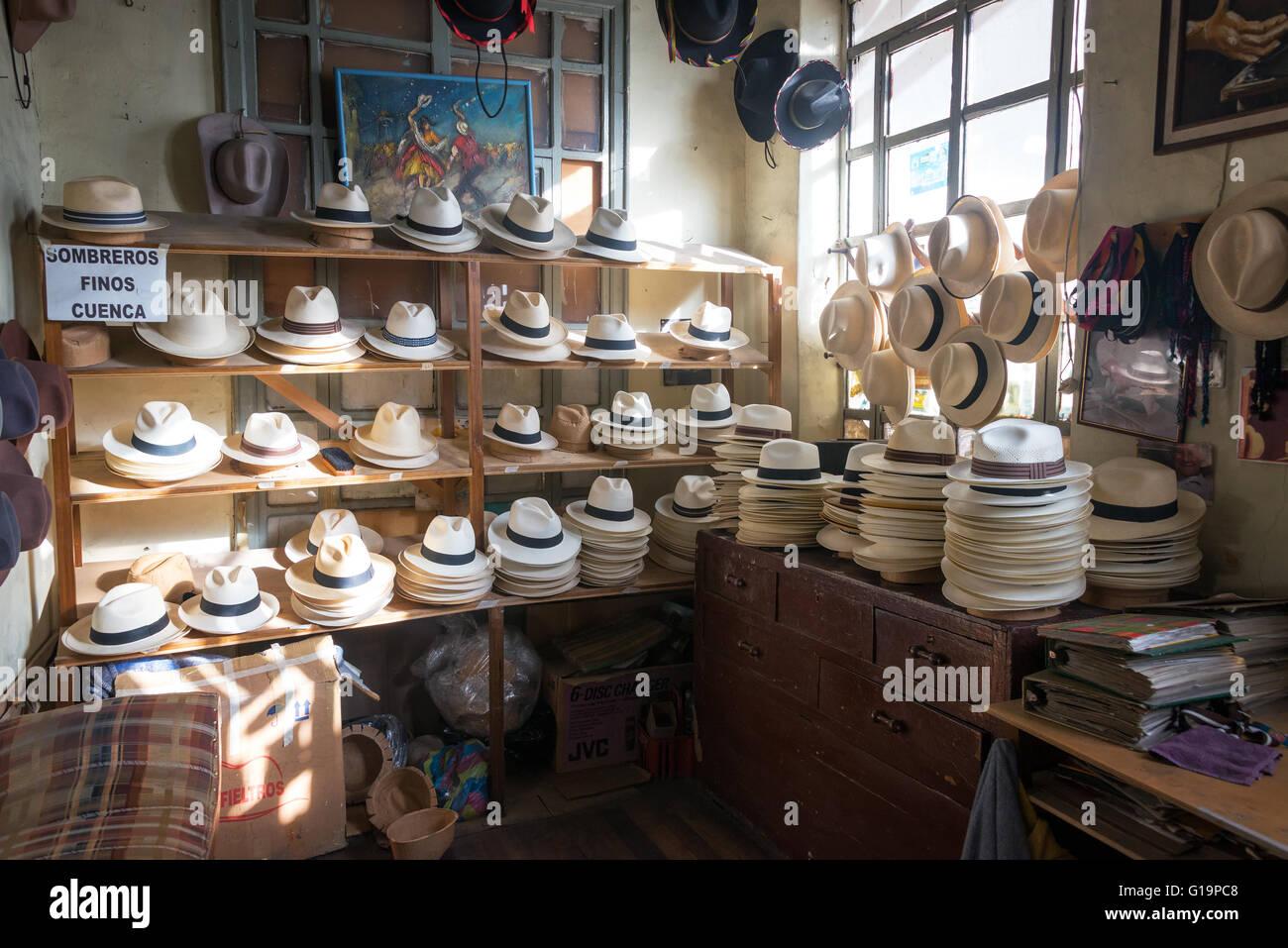 Shop selling Panama hats in Cuenca, Ecuador - Stock Image