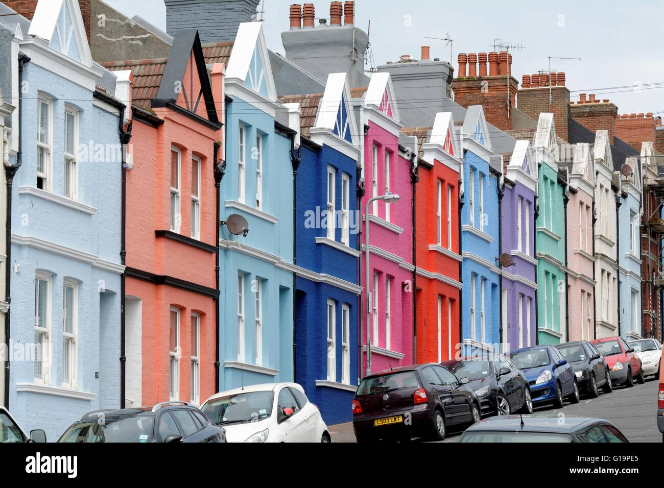 Colourful houses on blaker street brighton sussex stock for Brighton house