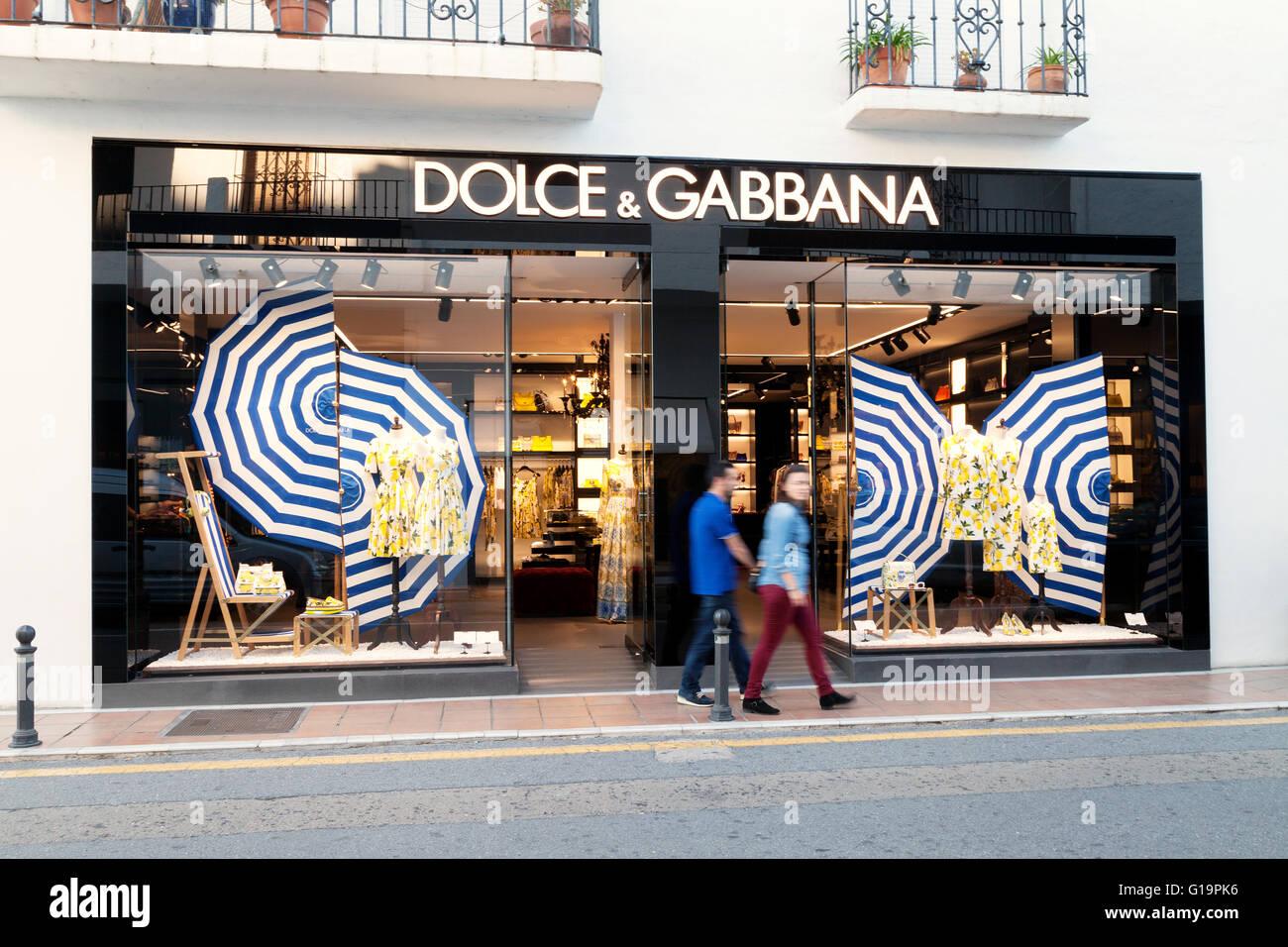 Dolce & Gabbana store exterior, Puerto Banus, Marbella Spain - Stock Image