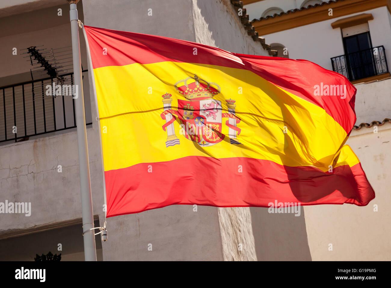 Spanish flag flying, Spain, Europe - Stock Image