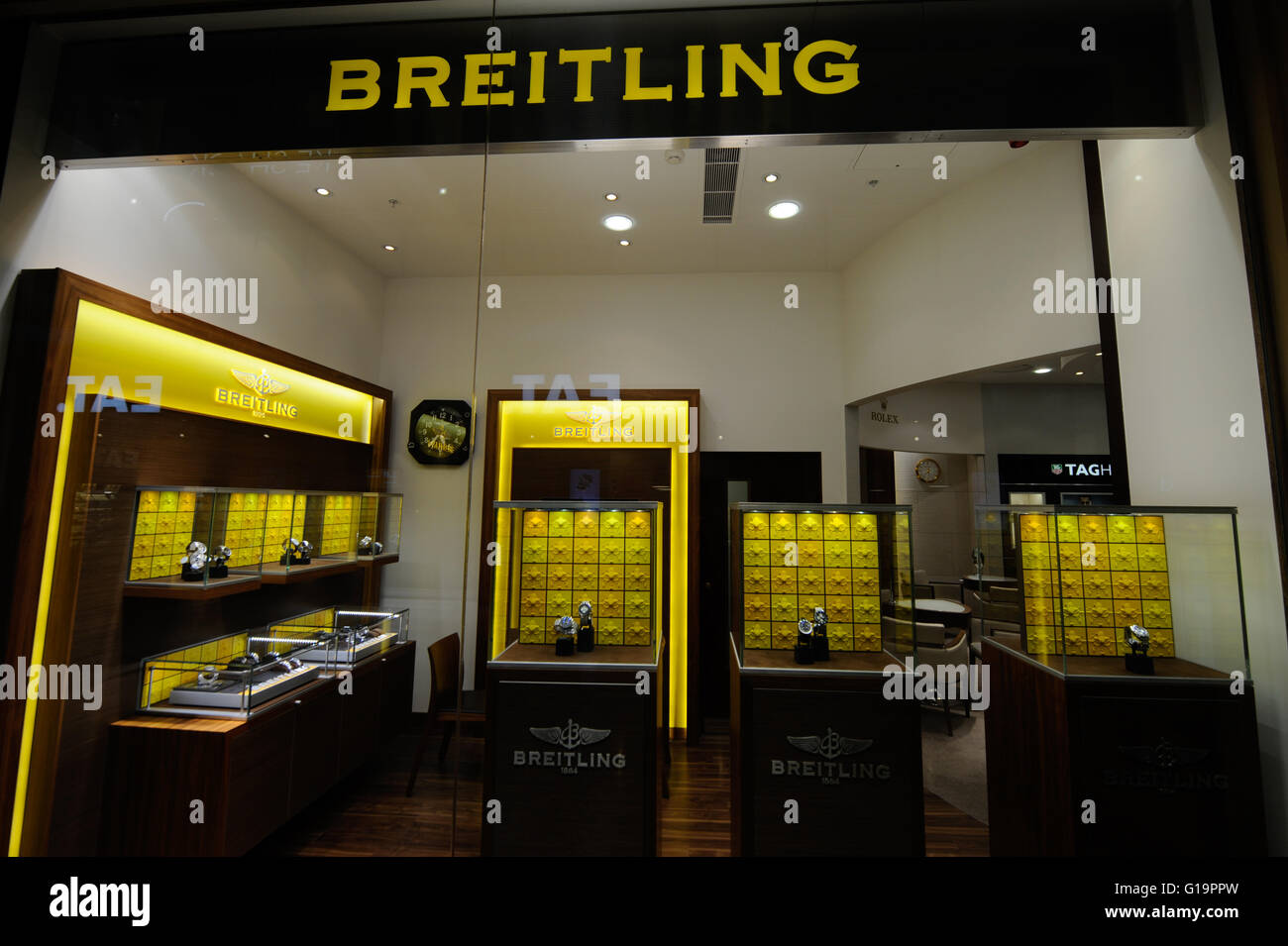 Breitling store in Cardiff st Davids shopping centre - United Kingdom - Stock Image