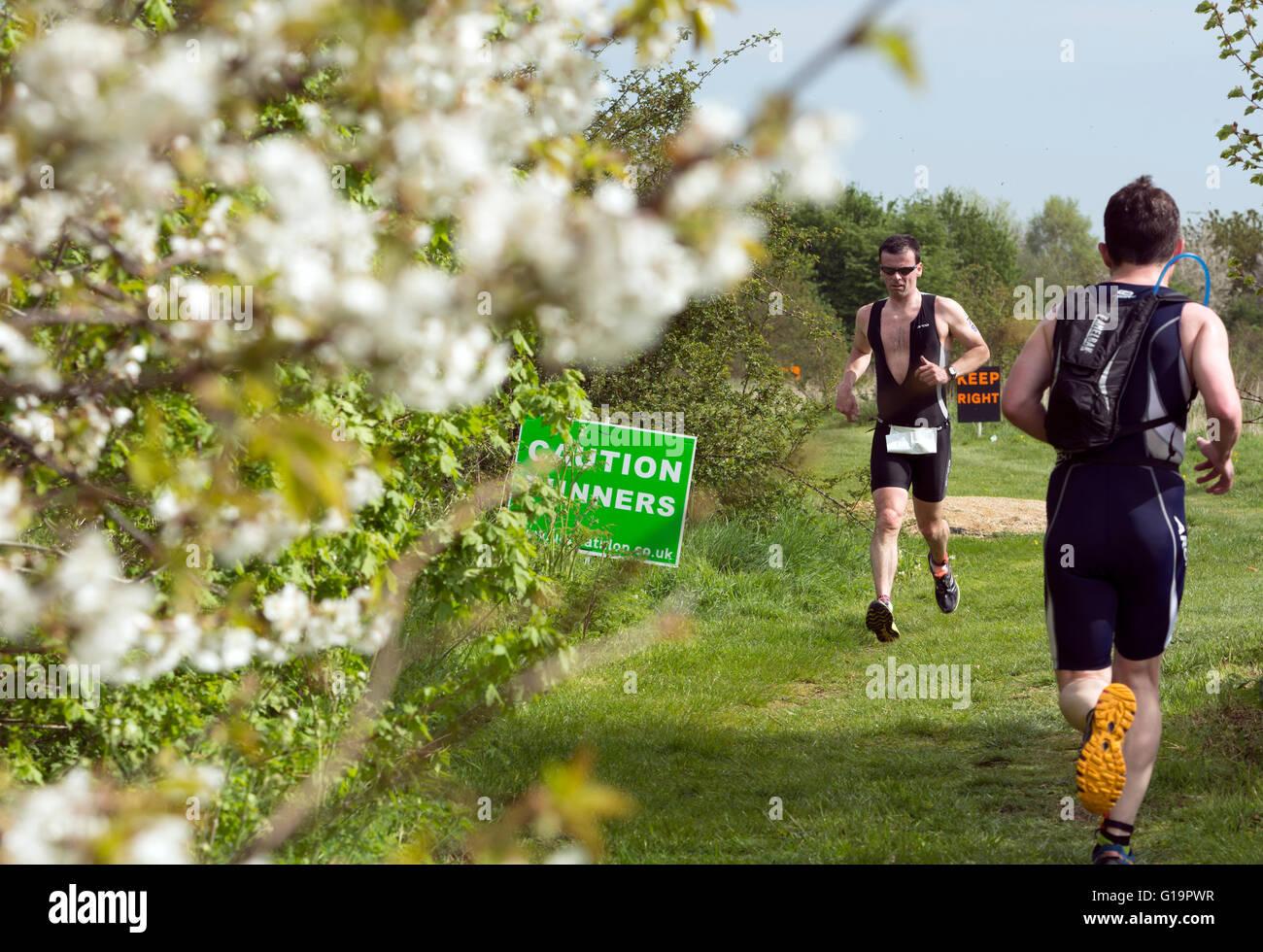 Runners in the Stratford Triathlon, UK - Stock Image