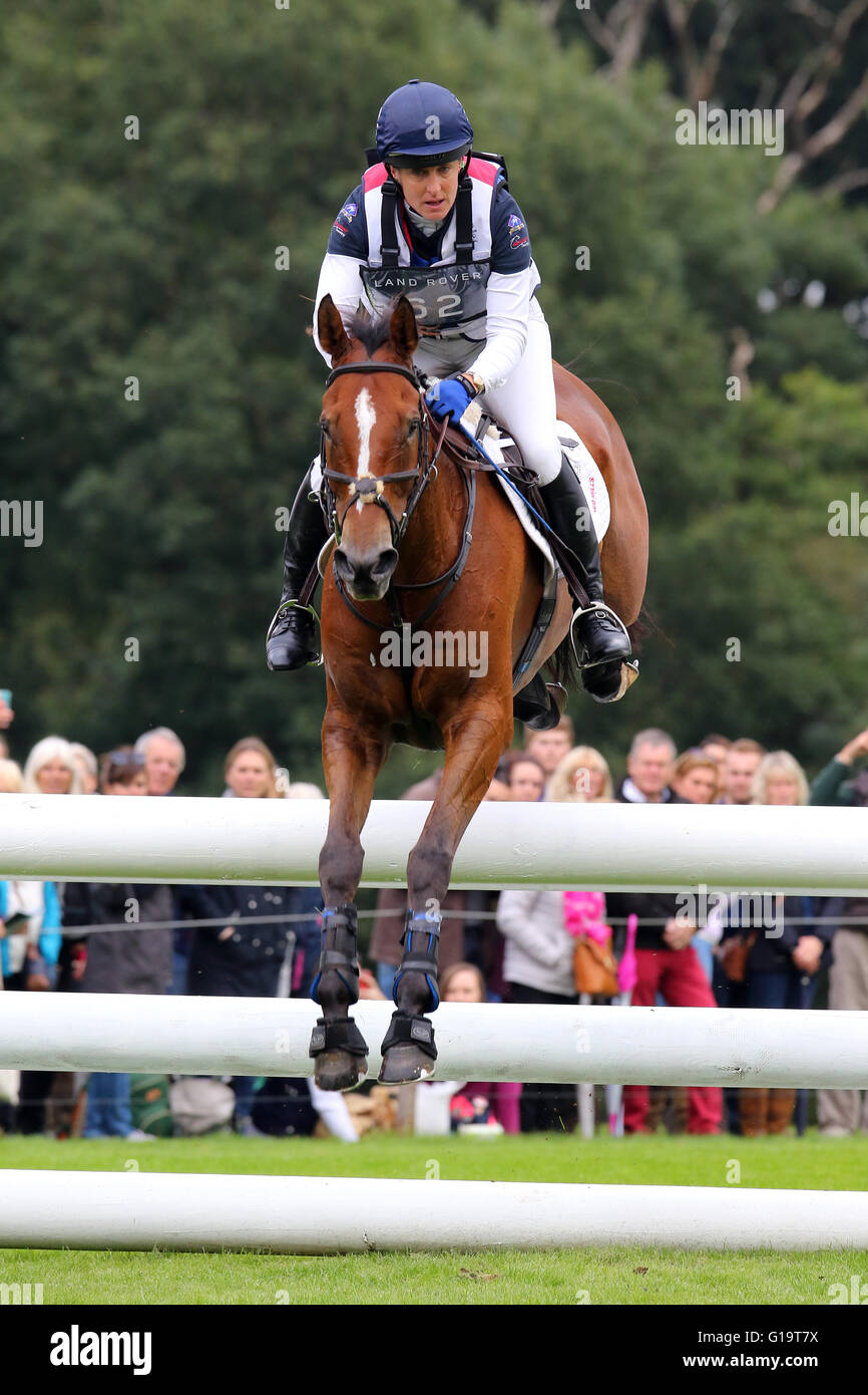 Kristina Cook (Great Britain) on Star Witness riding Cross Country at the Land Rover Burghley Horse Trials, 5th - Stock Image