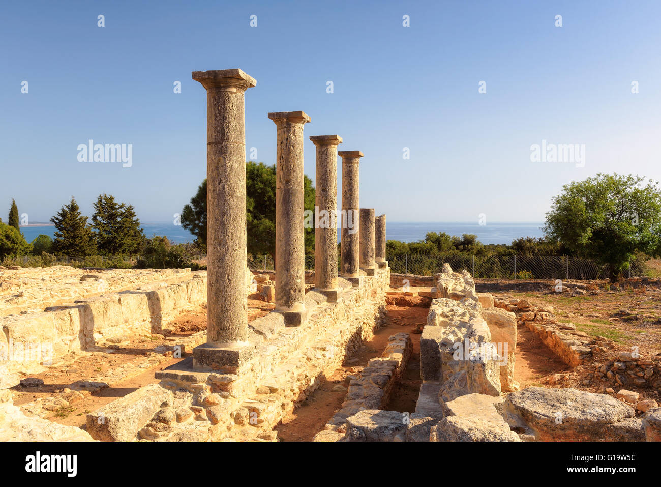 Ancient Ruins of the Sanctuary of Apollo Hylates , ancient Cyprus - Stock Image