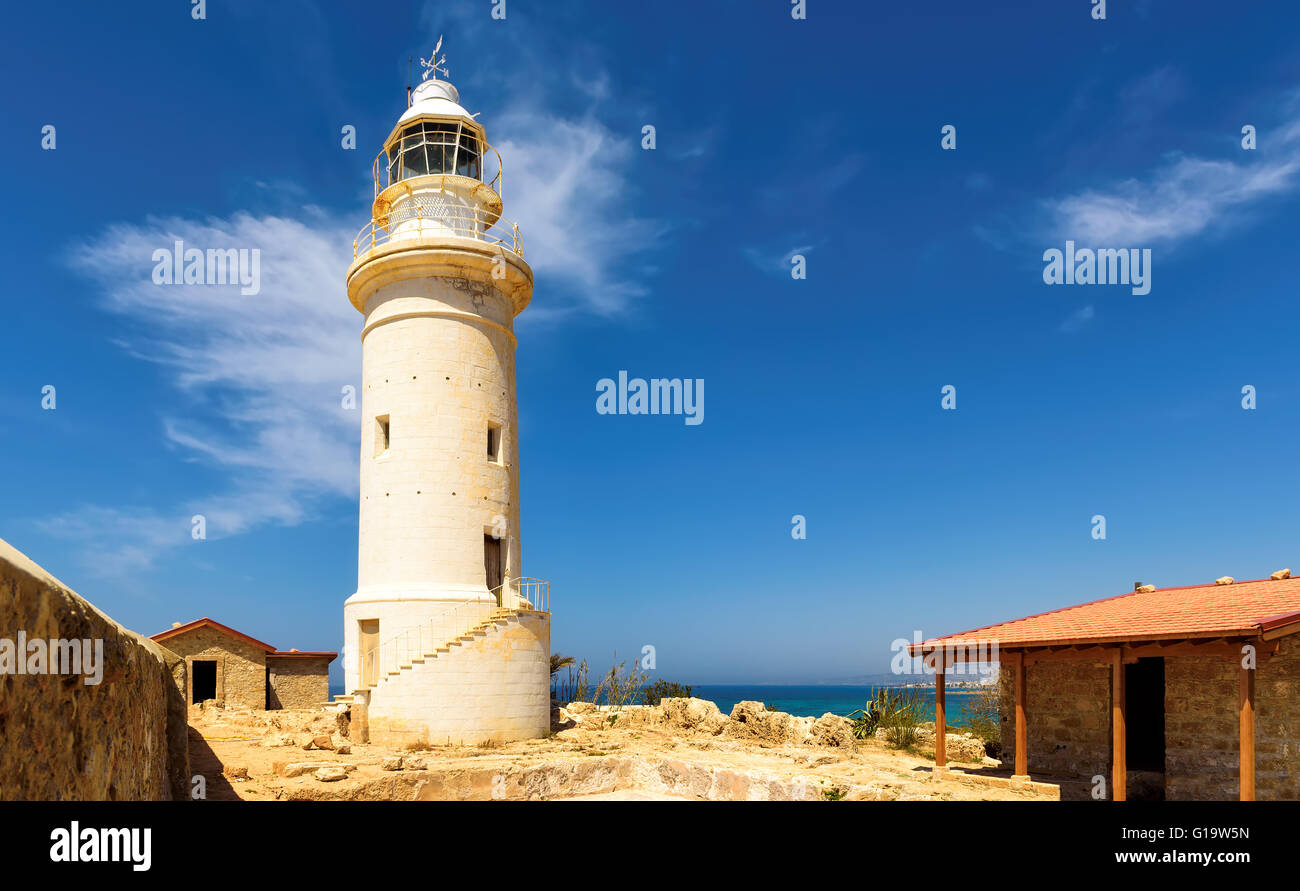 Paphos lighthouse in Cyprus - Stock Image