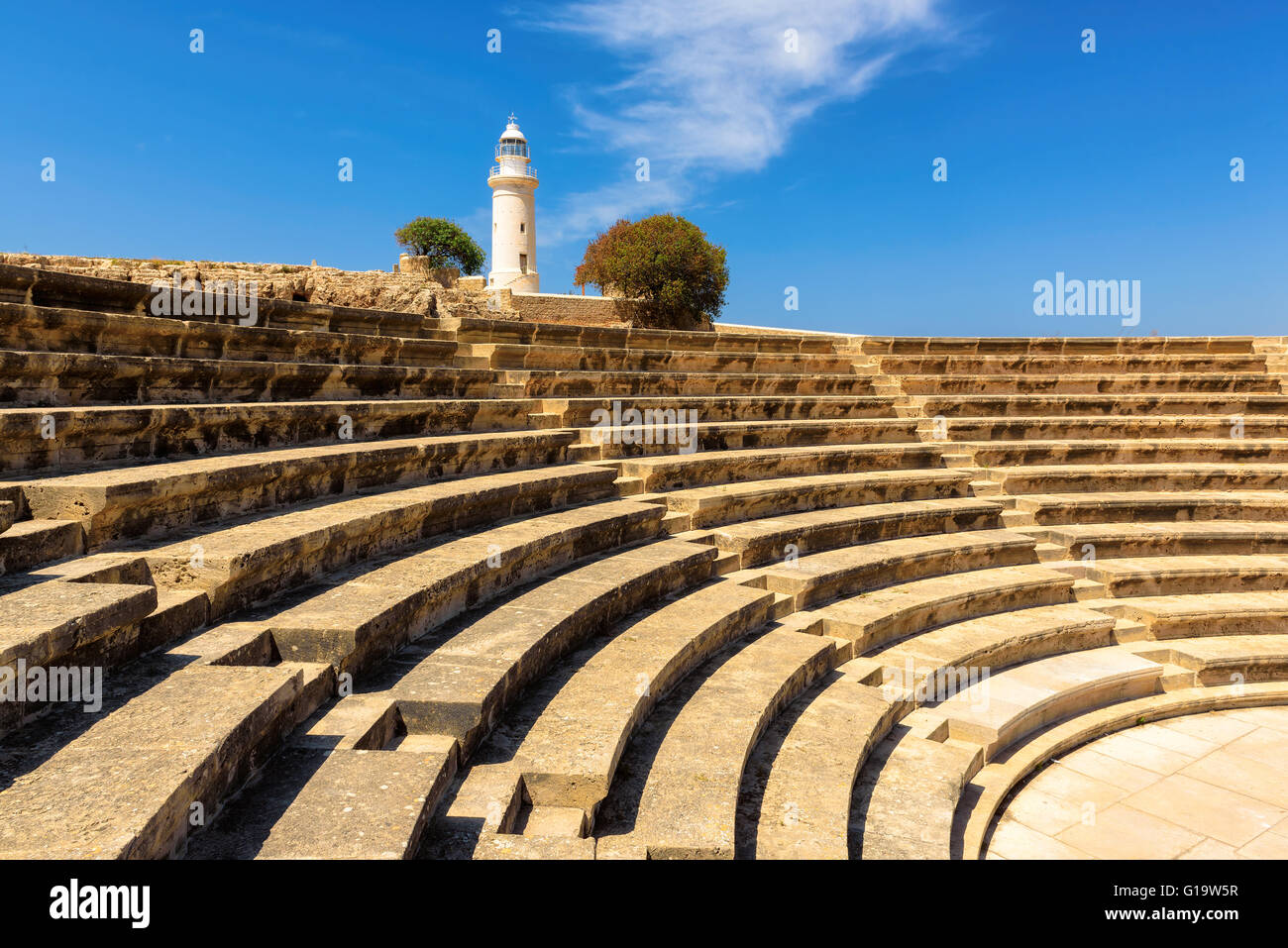 Odeion Agora and Paphos Lighthouse, Cyprus. - Stock Image