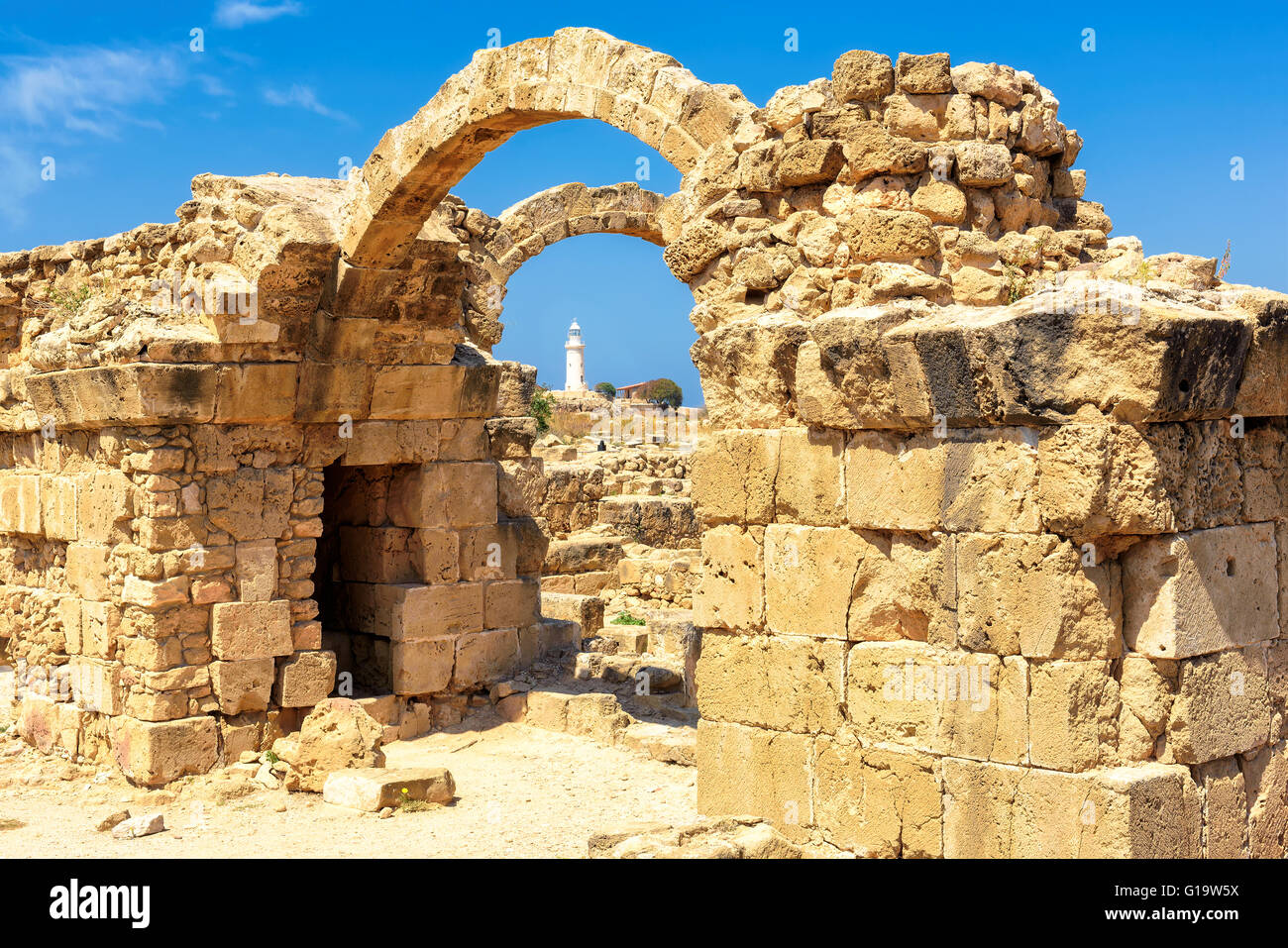 Ruins of ancient Greek arches in Paphos, Cyprus Stock ...