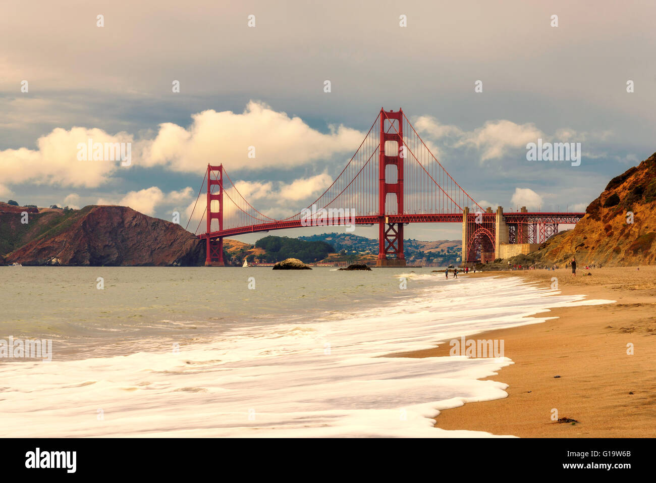 Golden Gate Bridge is shown on sunset , San Francisco, California - Stock Image