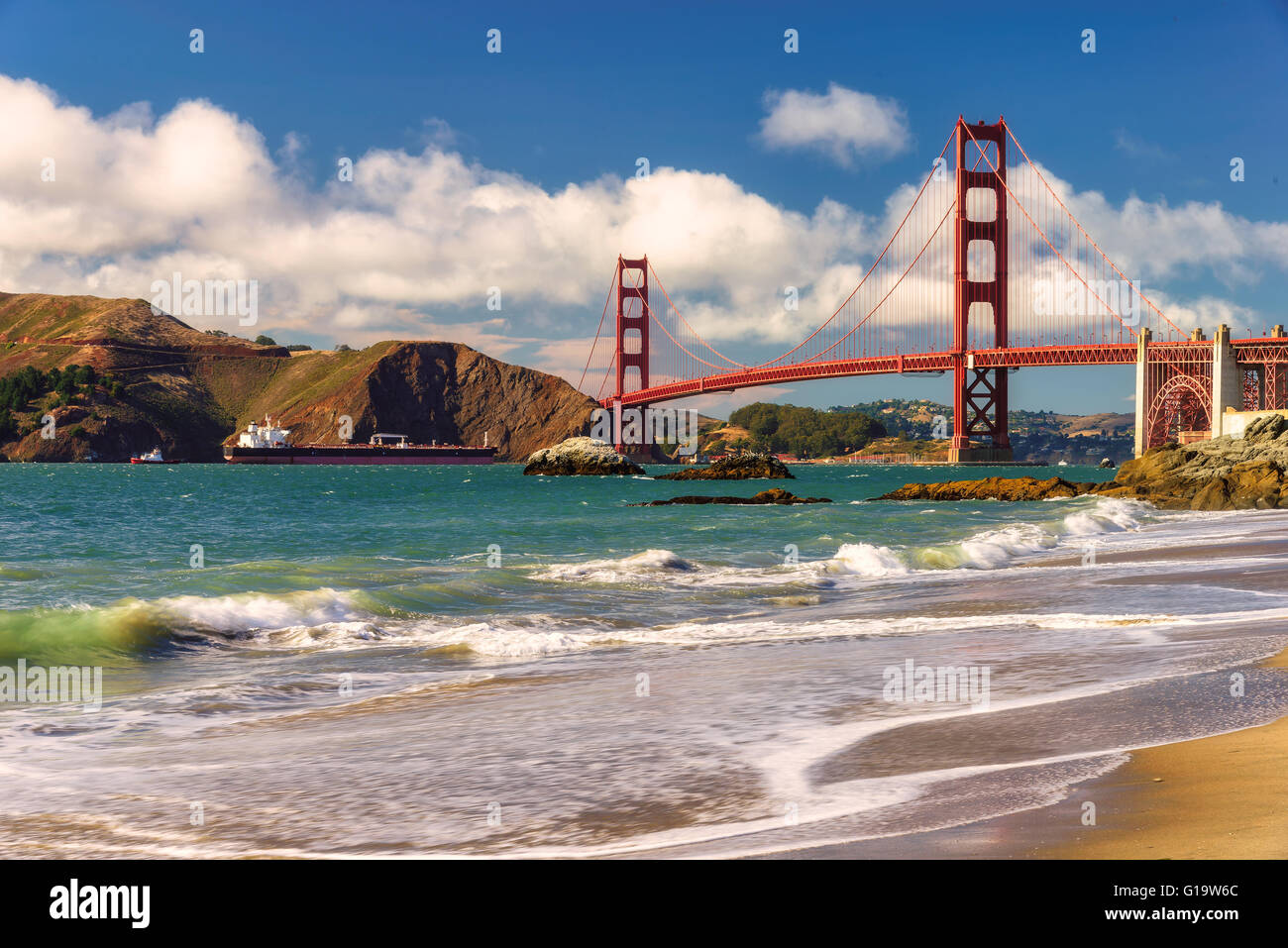 Golden Gate Bridge from Marshall Beach, San Francisco - Stock Image