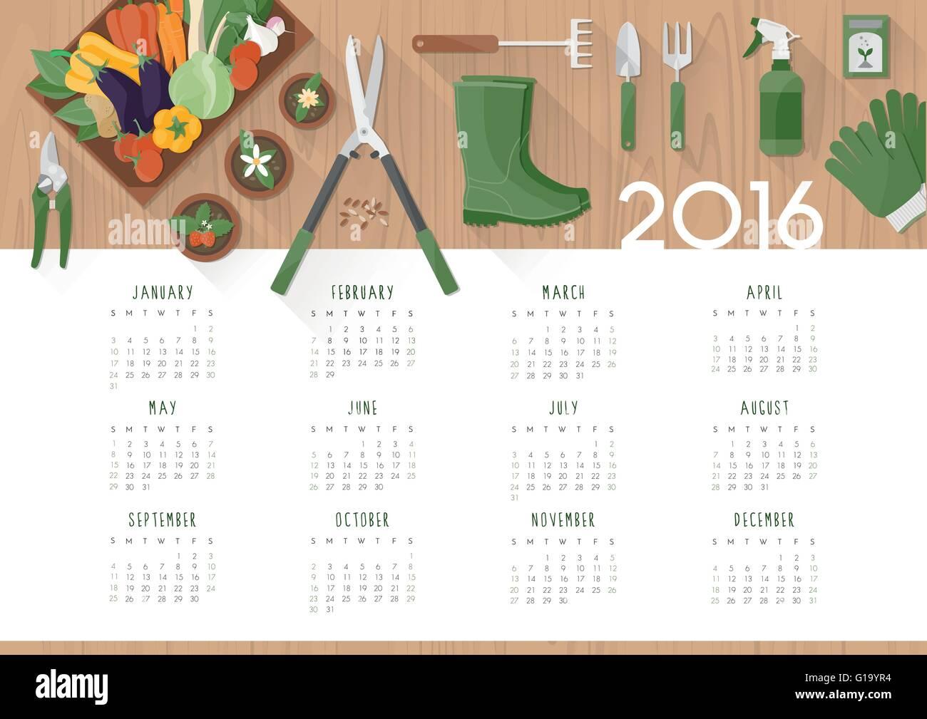 Botany calendar - Stock Image