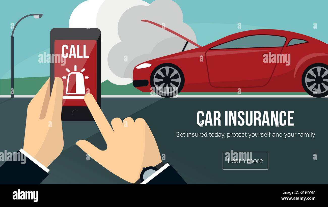 Car insurance banner with man calling emergency services using a mobile phone and car accident on background - Stock Vector