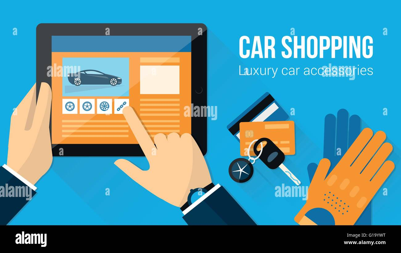 Car accessories shopping banner, man searching for tires on a website using a tablet with car keys, driving gloves - Stock Vector