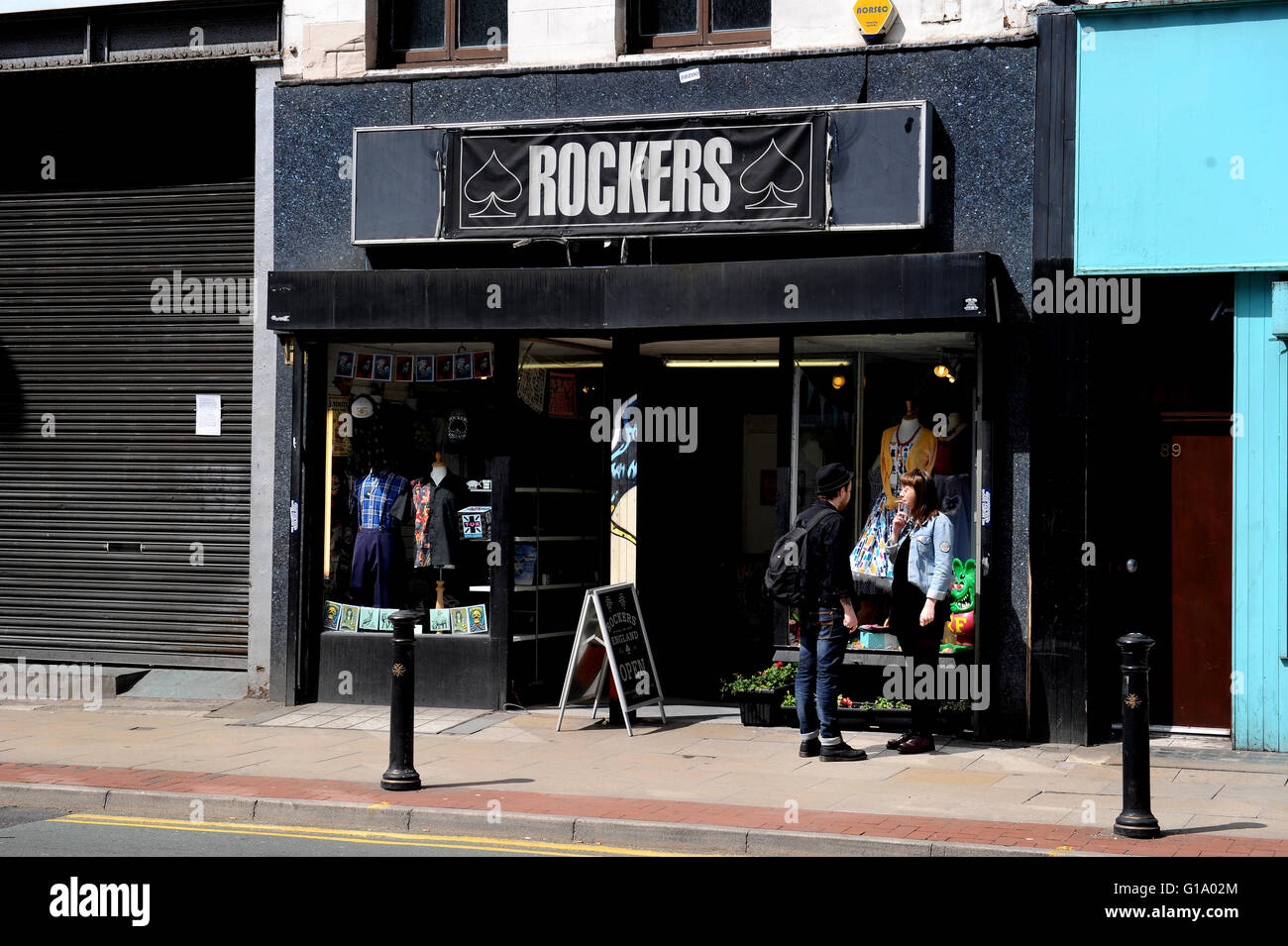 Rockers clothes shop, Oldham Street, Northern Quarter, Manchester, Tuesday May 10, 2016. - Stock Image