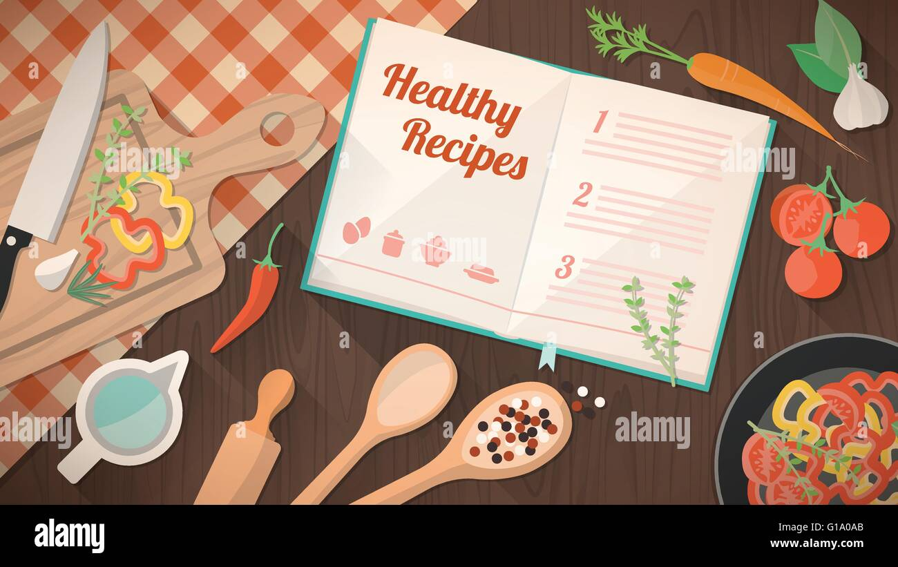 Healthy recipes cookbook, kitchen utensils and ingredients on the kitchen table, food preparation and leraning concept - Stock Vector