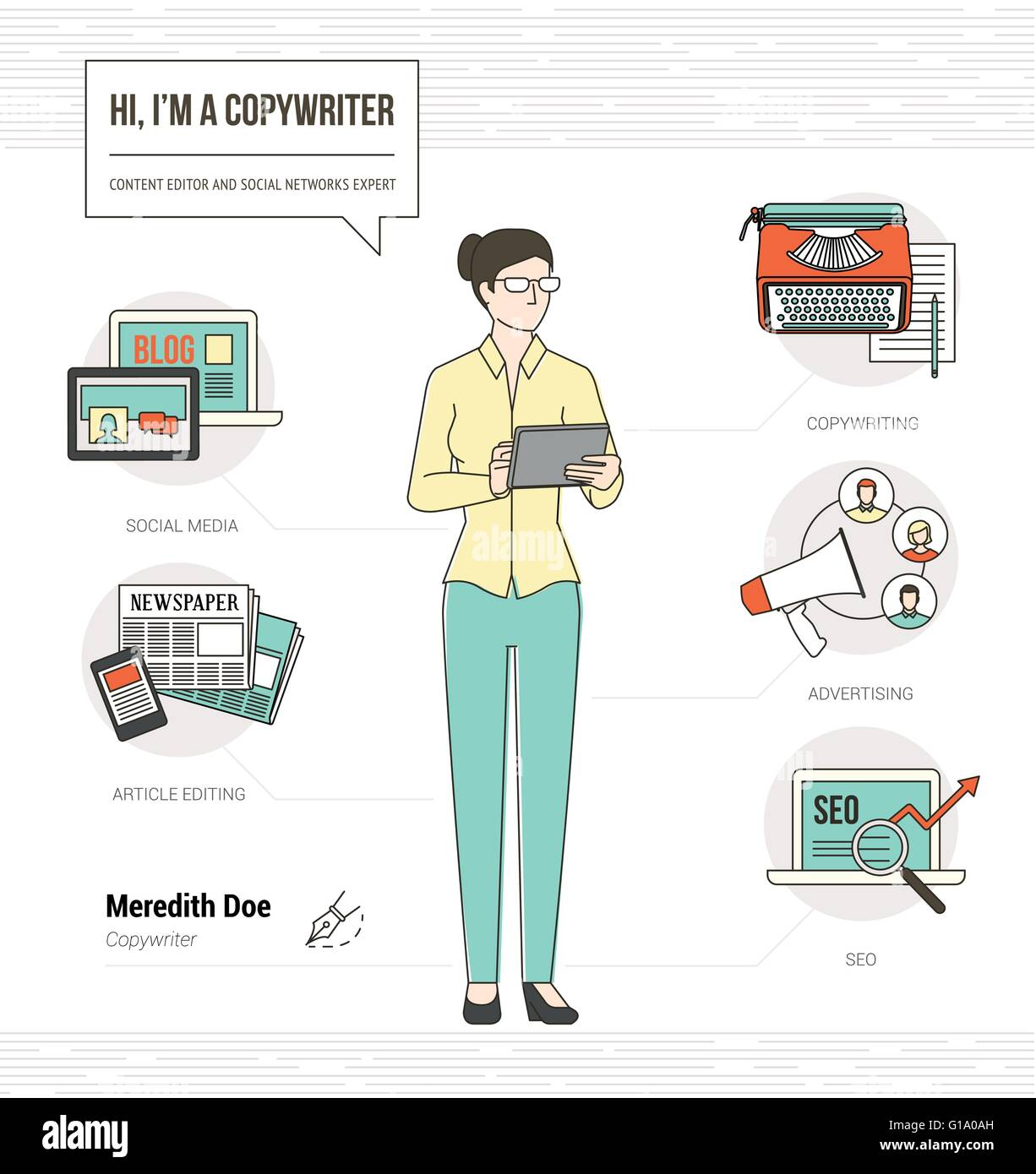 Professional Copywriter Infographic Skills Resume With Icons And