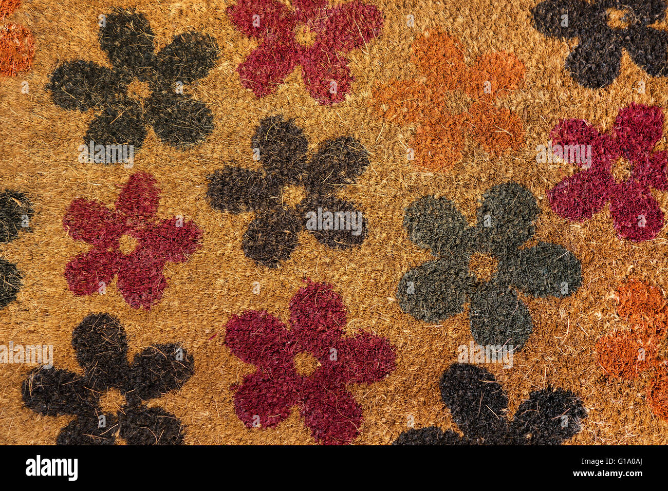 Floral pattern of a coconut matting - Stock Image