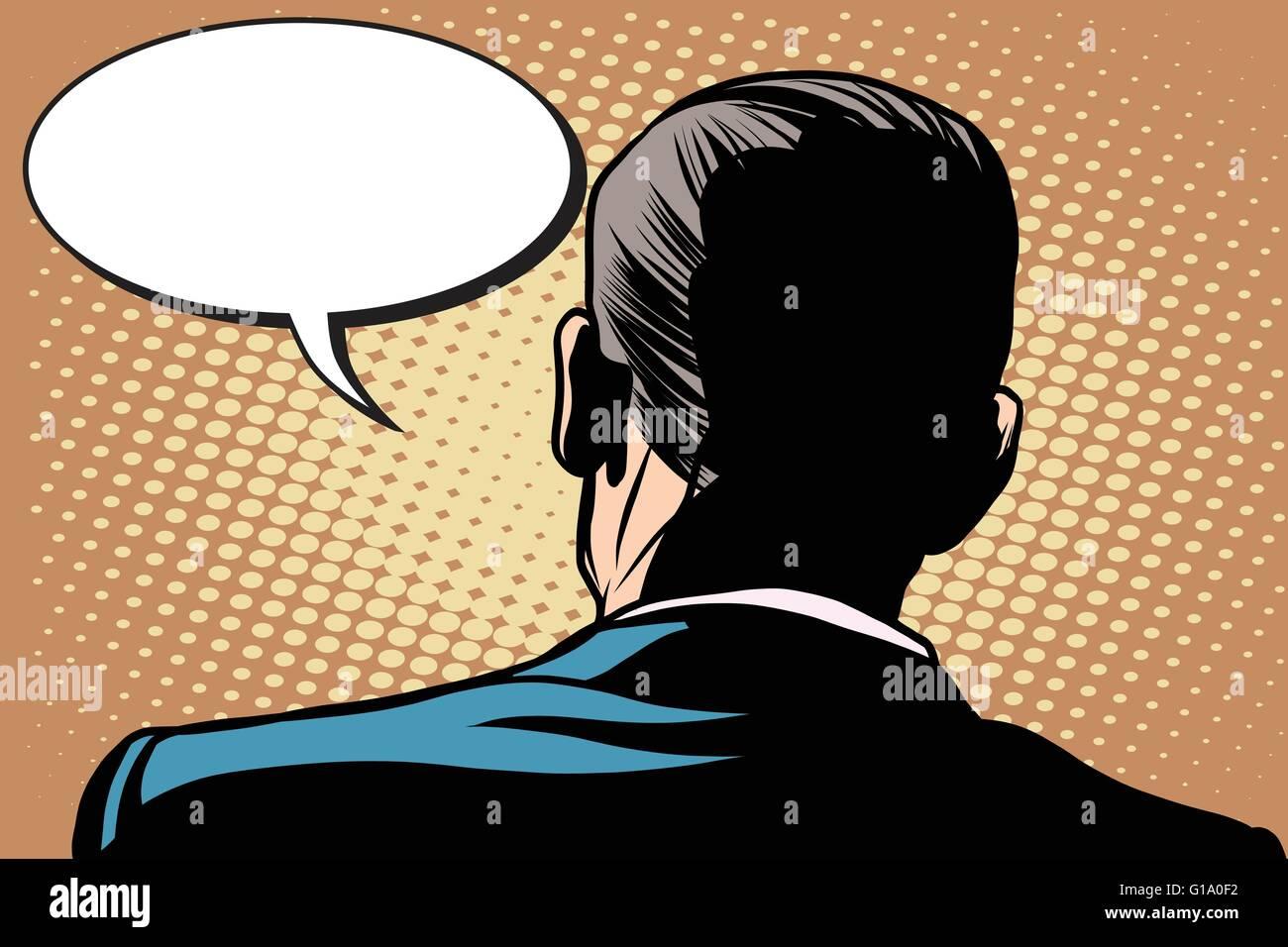 Male back comic bubble conversation communication - Stock Vector