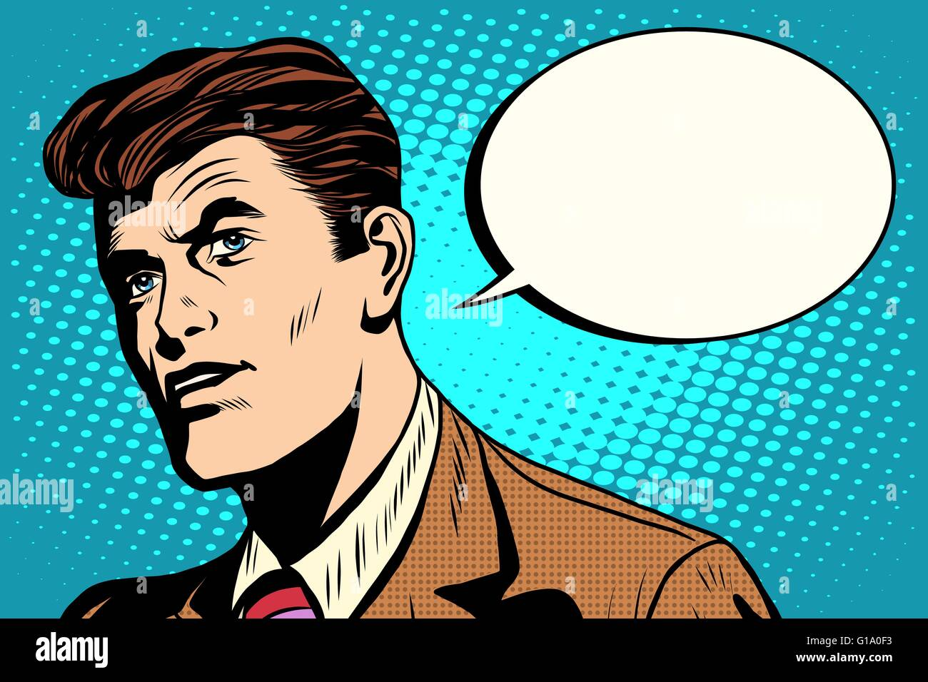 man asks retro comic bubble - Stock Vector