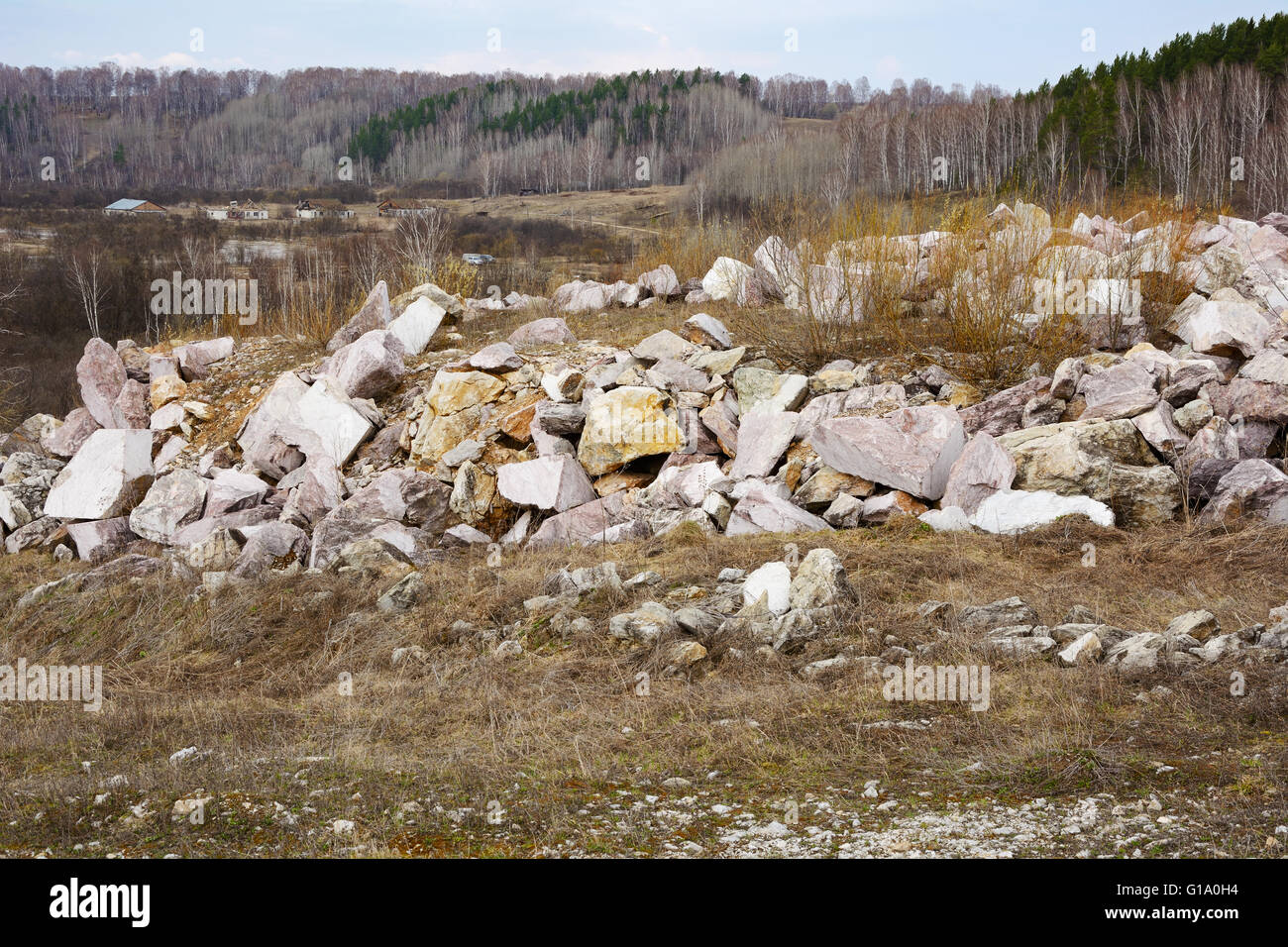 The blade marble quarry near the village of Petani, Novosibirsk region - Stock Image