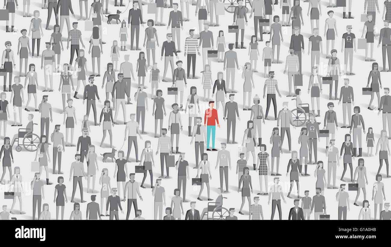 One individual standing out of the crowd, individuality, choice and free thought concept - Stock Image