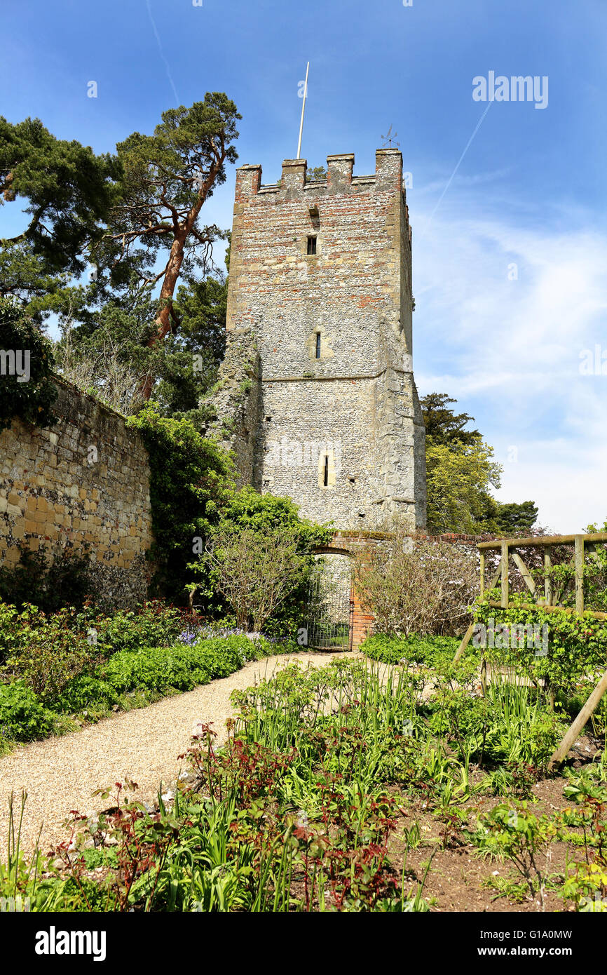 An English Walled garden with medieval tower - Stock Image