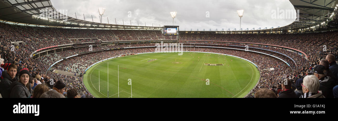 Melbourne, Australia - April 25, 2015: Panoramic view of Melbourne Cricket Ground on ANZAC Day 2015 - Stock Image