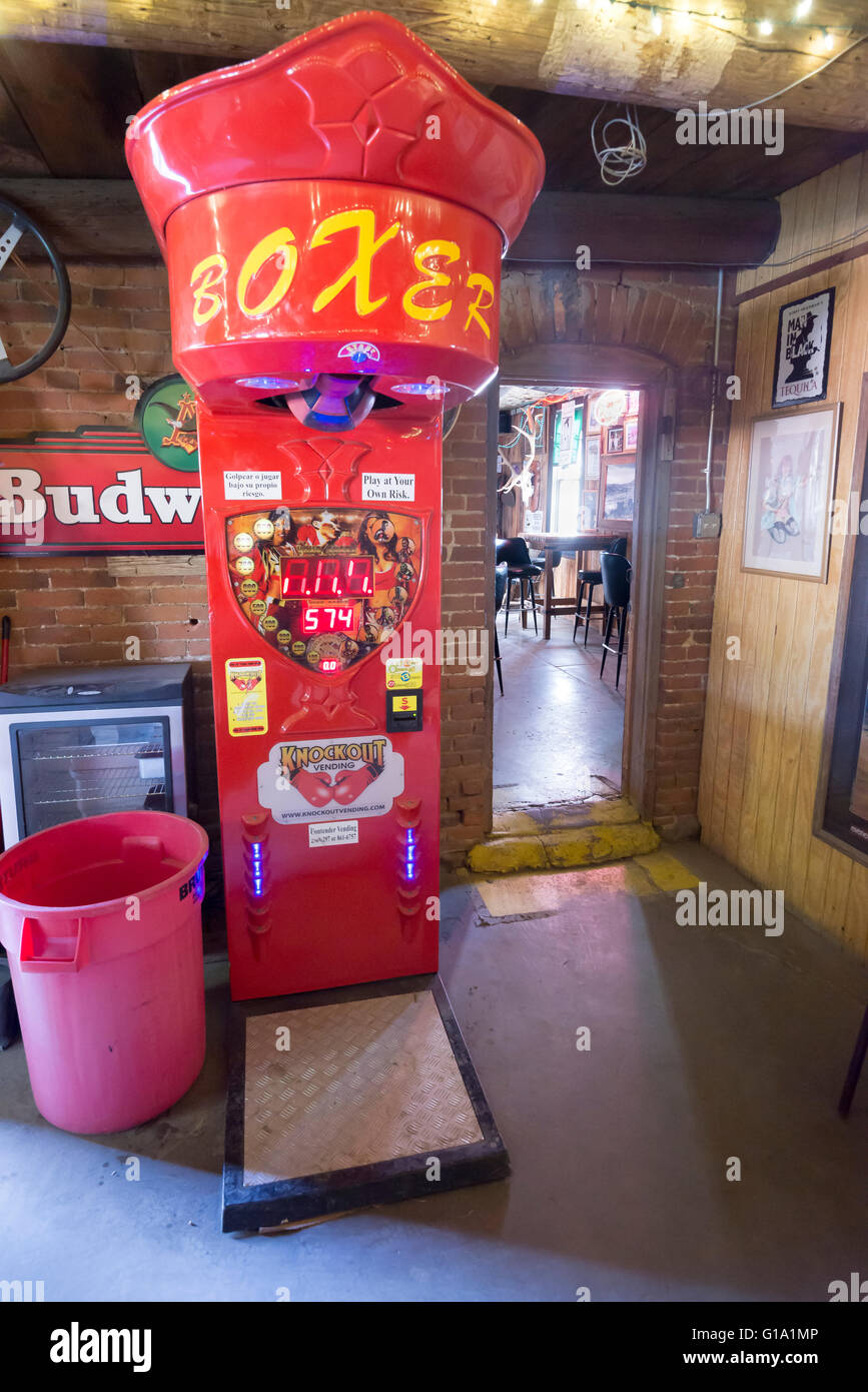 Boxer arcade game in the No Scum Allowed saloon in White Oaks, New Mexico. - Stock Image