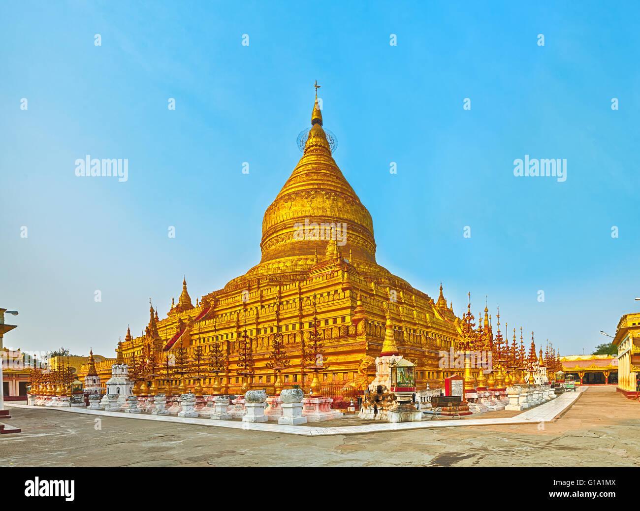 Buddhist pagoda Shwezigon in Bagan. Myanmar. Panorama Stock Photo