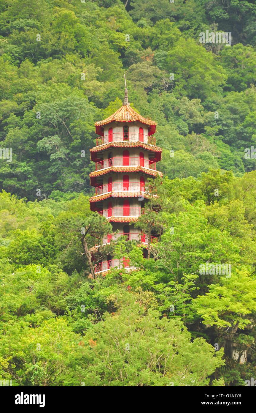 Tian feng tower in Taroko national park, Taiwan - Stock Image