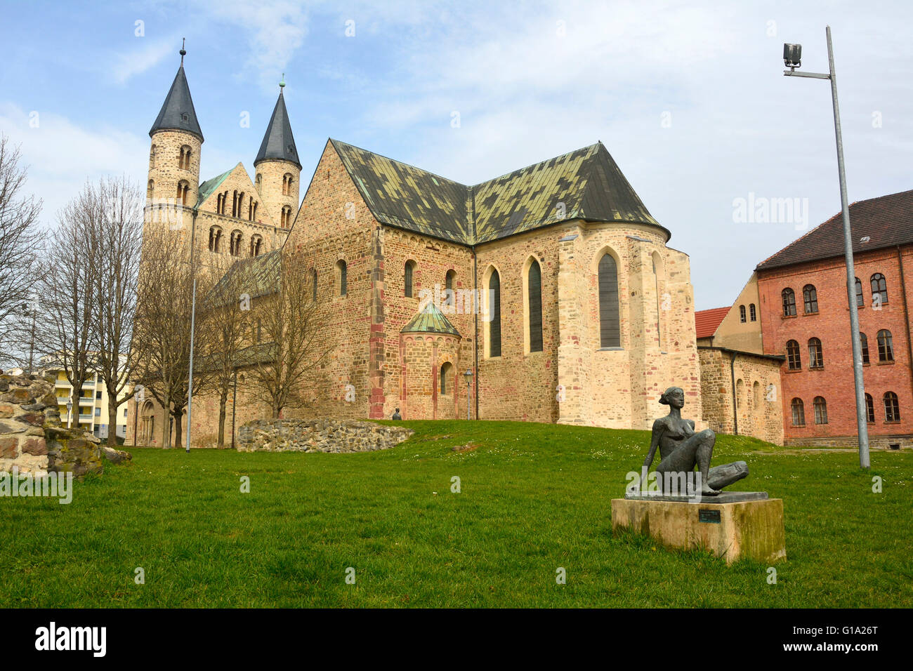 View of Klosterkirche St. Marien in Magdeburg - Stock Image