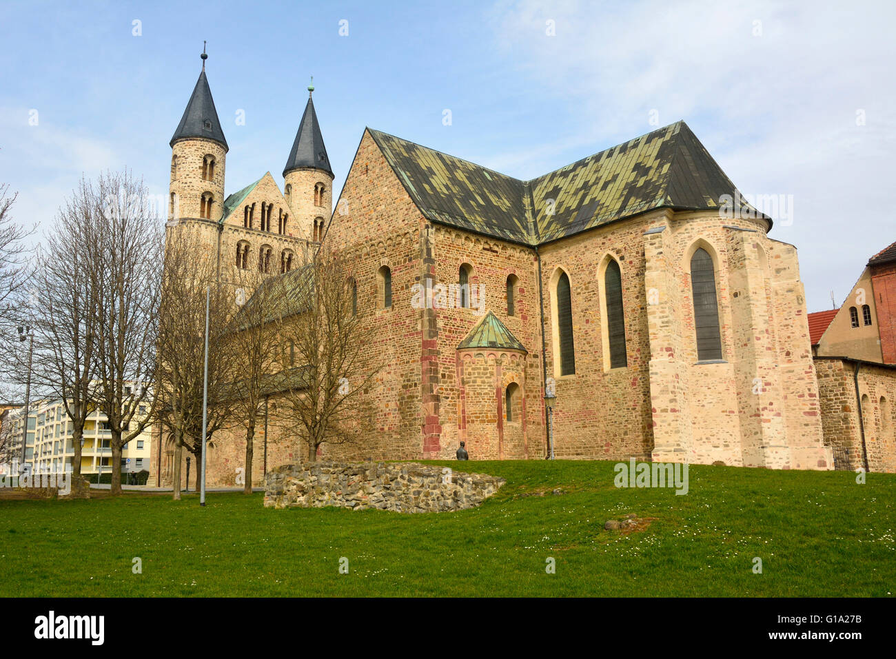 View of Klosterkirche St. Marien in Magdeburg, Germany - Stock Image