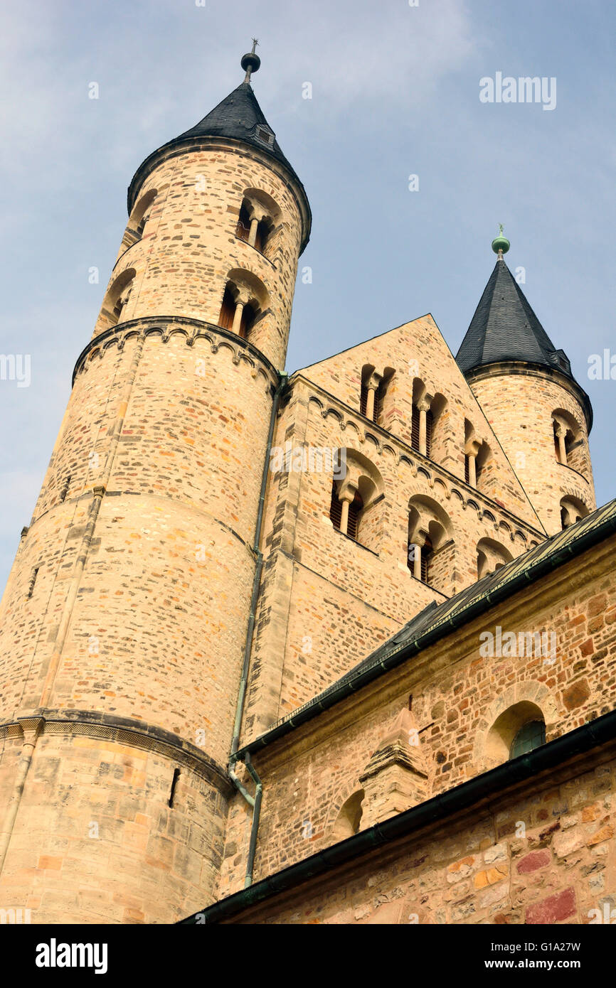 Towers of Klosterkirche St. Marien in Magdeburg, Germany. - Stock Image