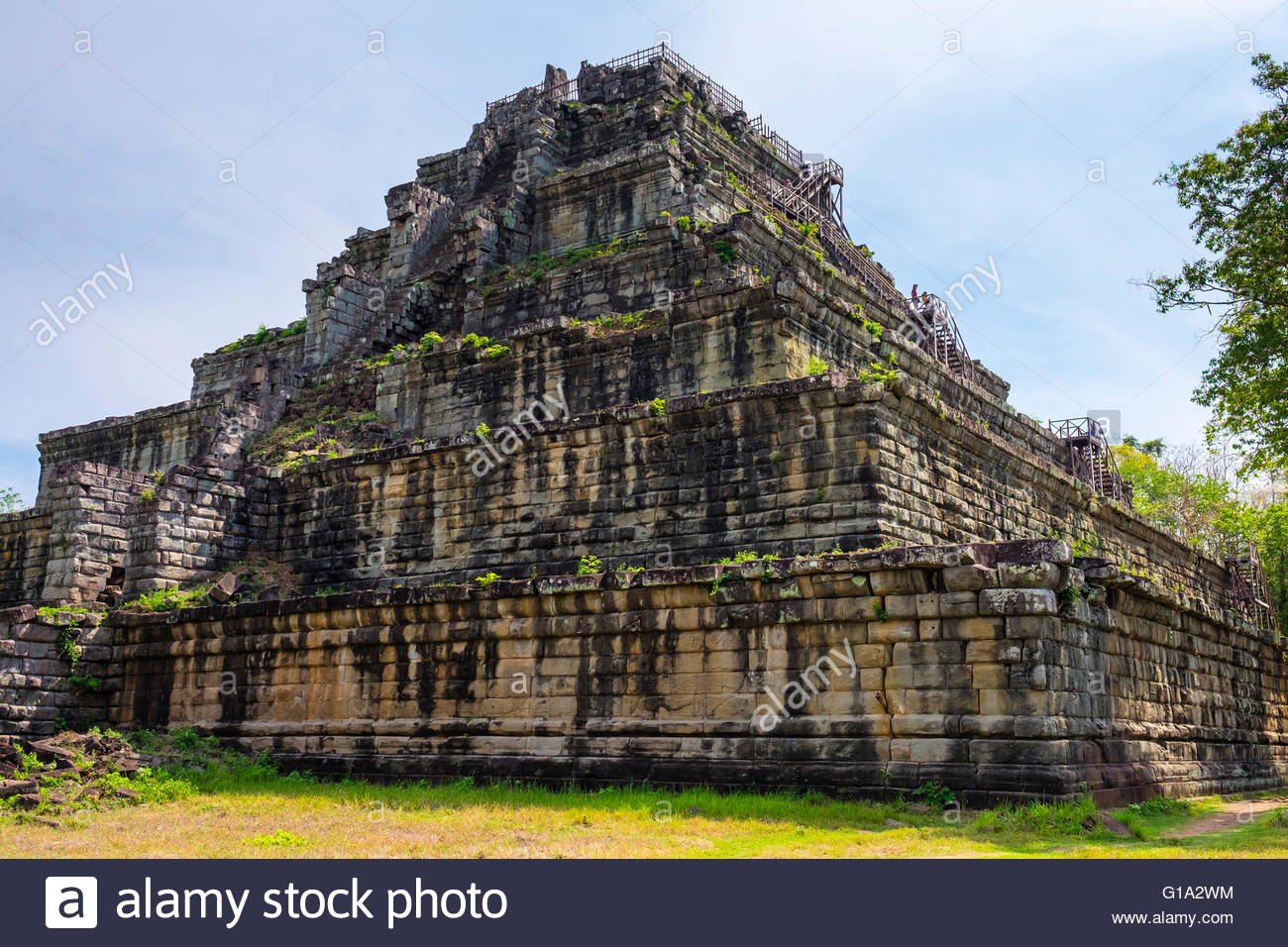 Seven‑tiered pyramid Prasat Prang at Prasat Thom, Koh Ker temple ruins, Preah Vihear Province, Cambodia - Stock Image