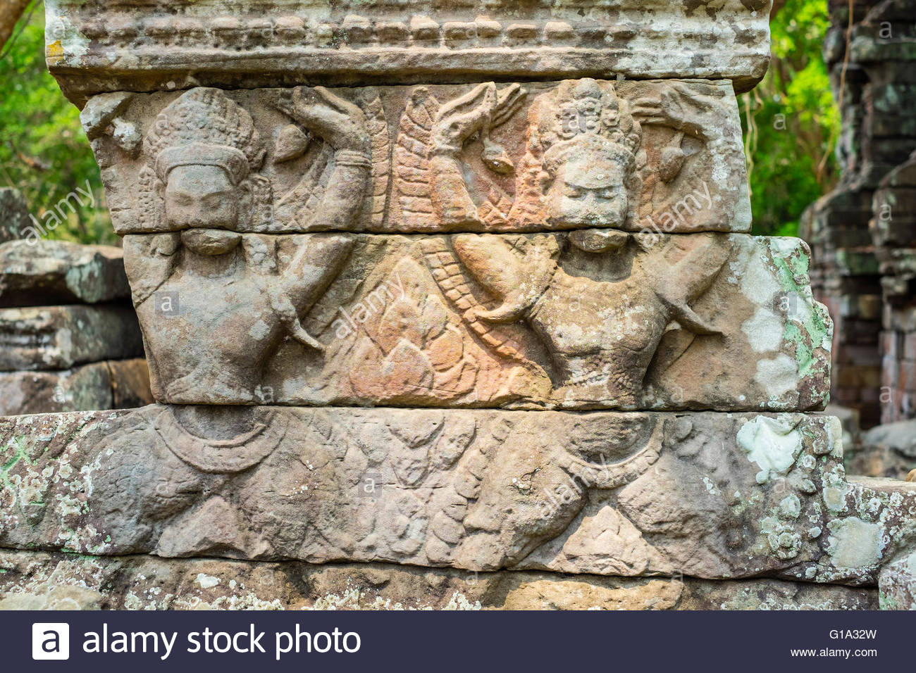 Stone carvings at Banteay Chhmar, Ankorian-era temple ruins, Banteay Meanchey Province, Cambodia - Stock Image