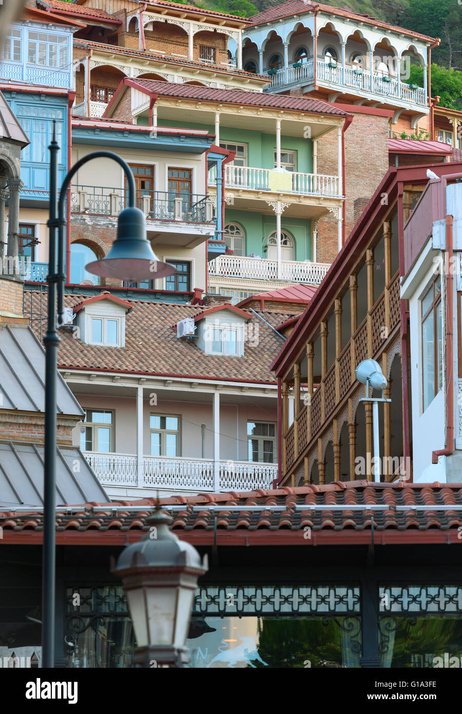 Traditional wooden carving balconies of Old Town of Tbilisi Stock Photo