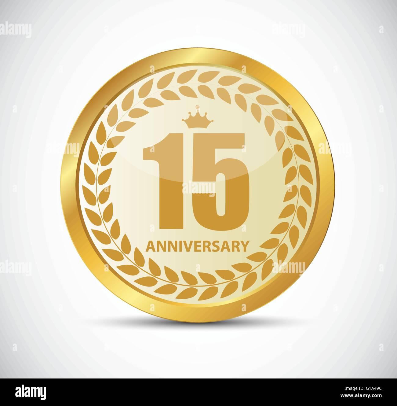 Template Logo 15 Years Anniversary Vector Illustration Stock Vector
