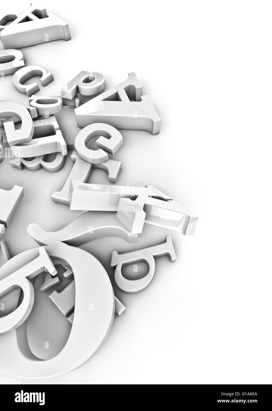 White letters / 3D render of varied white letters - Stock Image