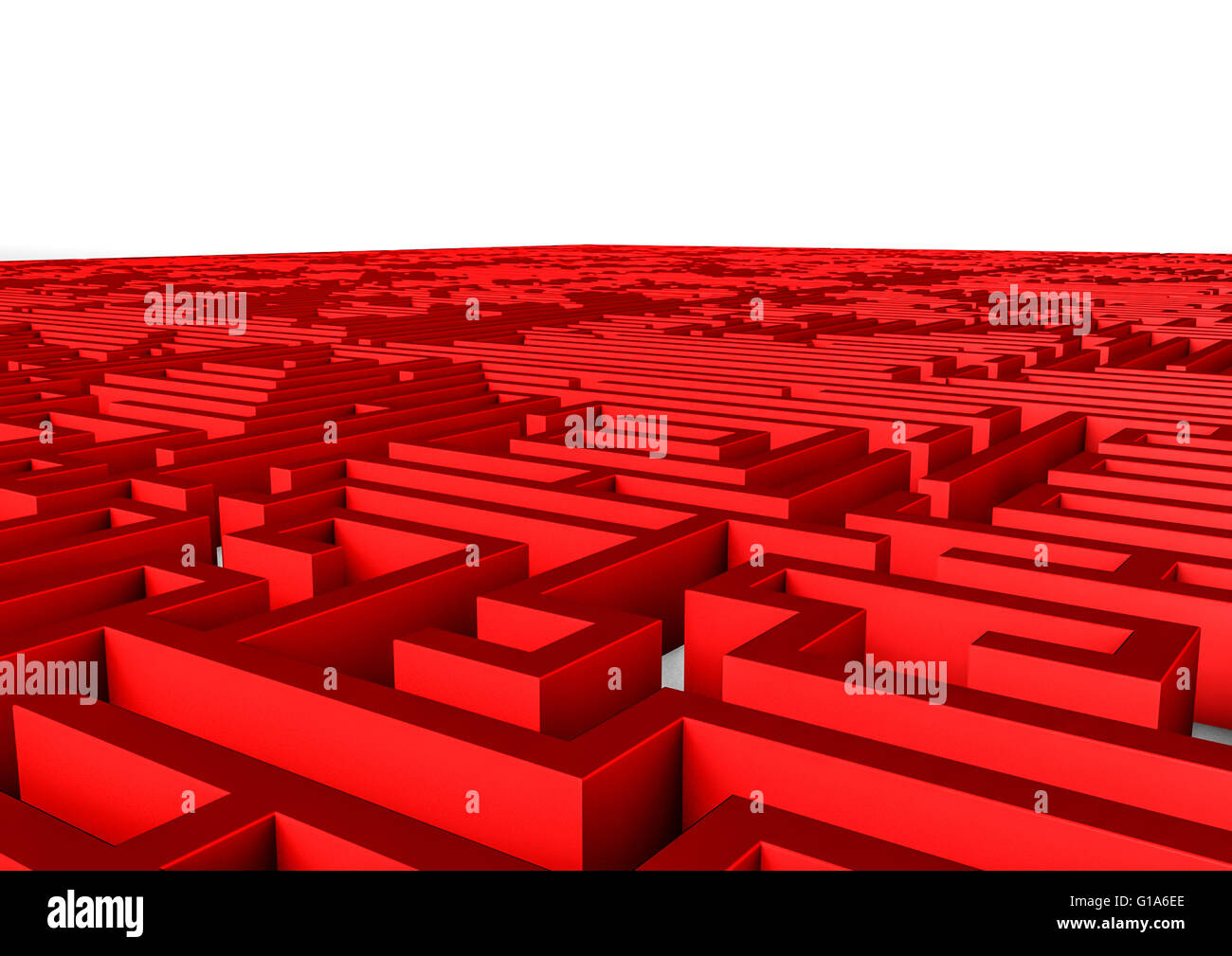 Maze background / 3D render of giant maze stretching to horizon - Stock Image