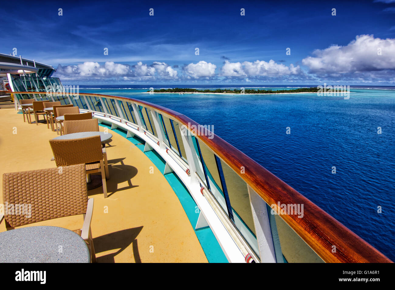 View from the top deck of a cruise ship to Mystery Island, Vanuatu - Stock Image